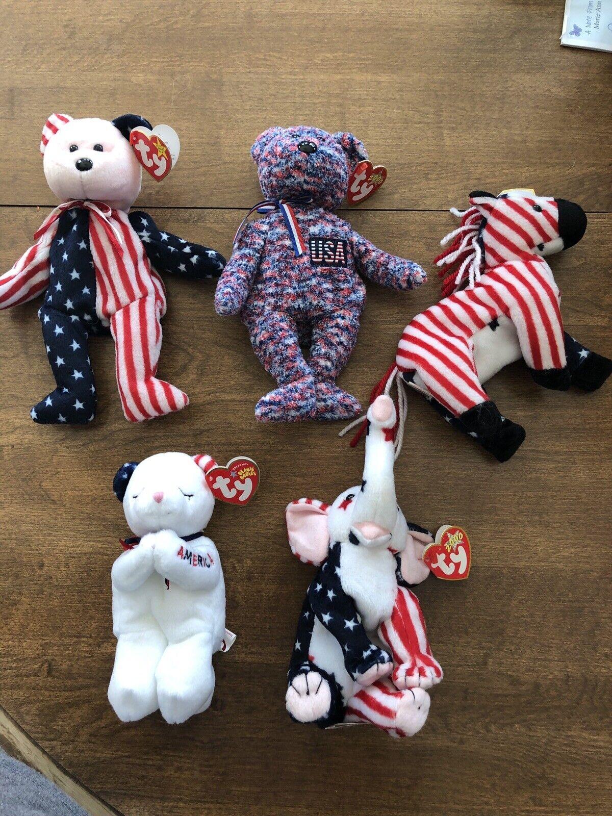 Lot of Five (5) American Theme Beanie Babies Bears Bears Bears Patriotic 5f85ba
