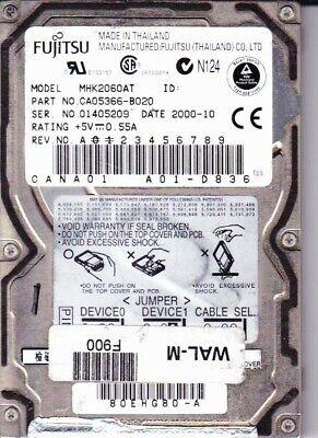 "Fujitsu MHK2060AT 6GB 2.5/"" Laptop IDE Hard Drive *Tested working*"