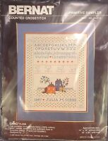 Bernat Counted Criss Stitch Kit Primitive Sampler 1987 Unopened Country Farm