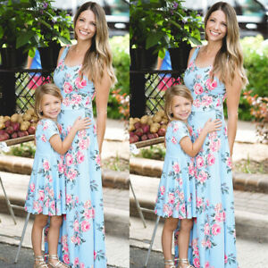 Family Mother and Daughter Matching Dress Floral Girl Long Maxi Sundress