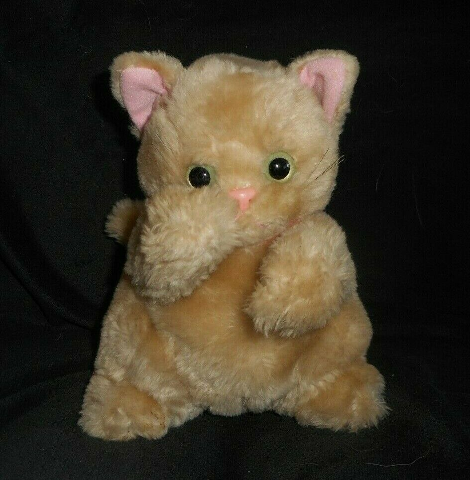 VINTAGE 1994 TYCO PLAYTIME KITTIES TAN KITTY CAT STUFFED ANIMAL PLUSH TOY WORKS