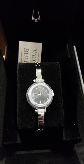 NEW Bulova 96L259 Ladies Crystal Studded Bezel Watch w/ Silver Bracelet