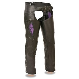 Milwaukee-Leather-Women-039-s-Chaps-W-Wing-Embroidery-And-Rivet-Detailing-ML1179