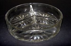 Vintage-3-Section-Clear-Pressed-Glass-Nut-Bowl-Star-burst-pattern-E-amp-JB