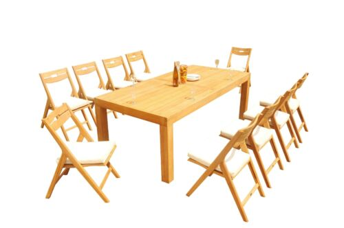 11pc Grade-A Teak Dining Set Canberra Rect Table Surfliner Reclining Arm Chair
