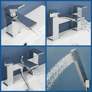 Waterfall-Mono-Basin-Sink-Mixer-Tap-Bath-Shower-Filler-Showerhead-Chrome-Modern