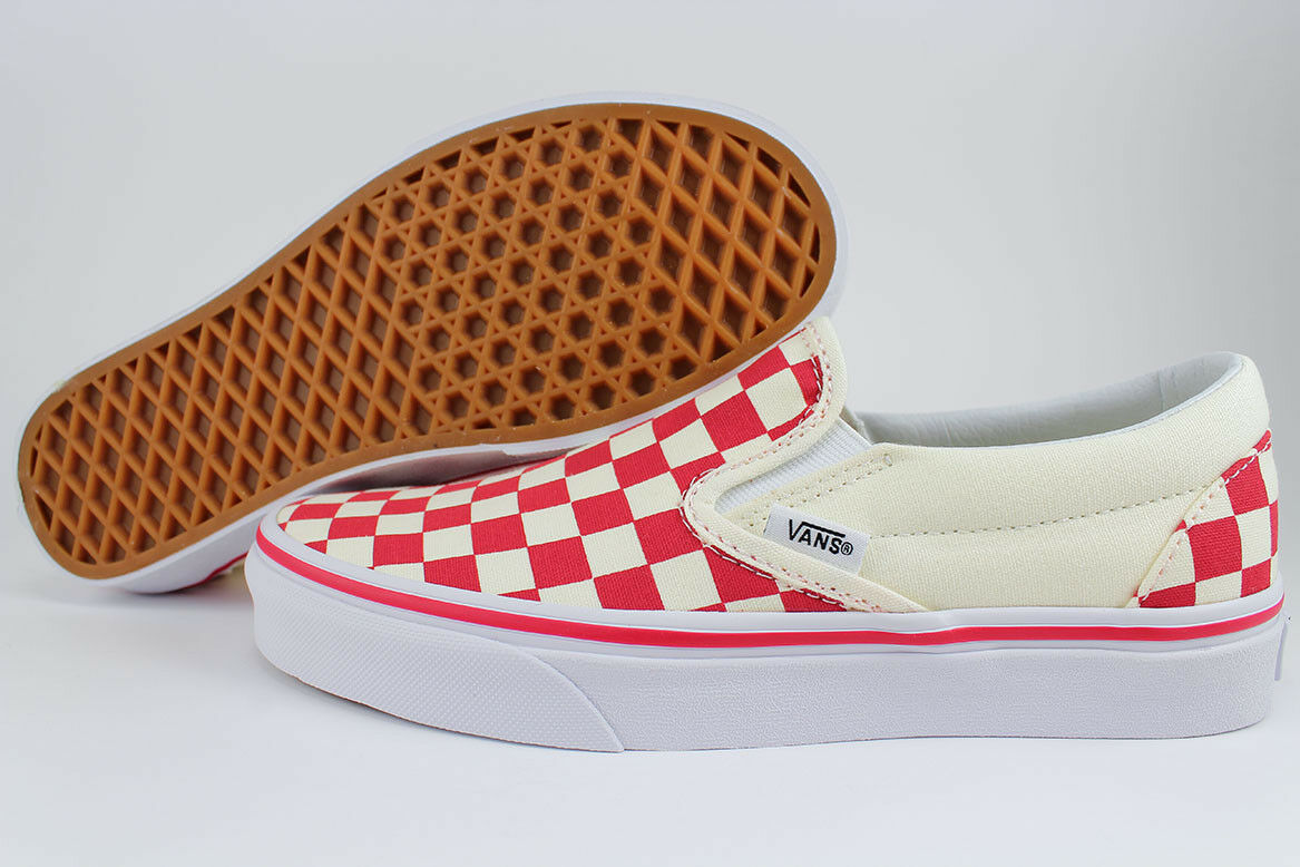 VANS CLASSIC SLIP-ON WHITE PRIMARY CHECKERBOARD RACING RED/OFF WHITE SLIP-ON CHECK US Uomo SIZE d9e7ac