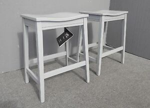 Pair-Two-Ashley-Signature-Design-Modern-Style-Gray-Wood-Counter-Stools-Barstools