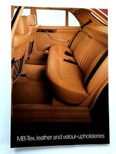 1982 Mercedes Benz Leather Upholstery Car Guide Brochure - 380SEL 380SEC 380SL