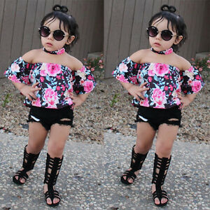UK 3PCS Kids Baby Girl Clothes Off-Shoulder Vest Tops+Floral Shorts Pants Outfit