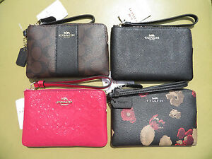 coach wristlet wallet leather black new small purse bag coin purse rh ebay com