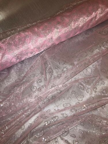 """1 MTR BABY PINK HEART PRINT ORGANZA VOILE WEDDING BRIDAL FABRIC 58"""" WIDE"""