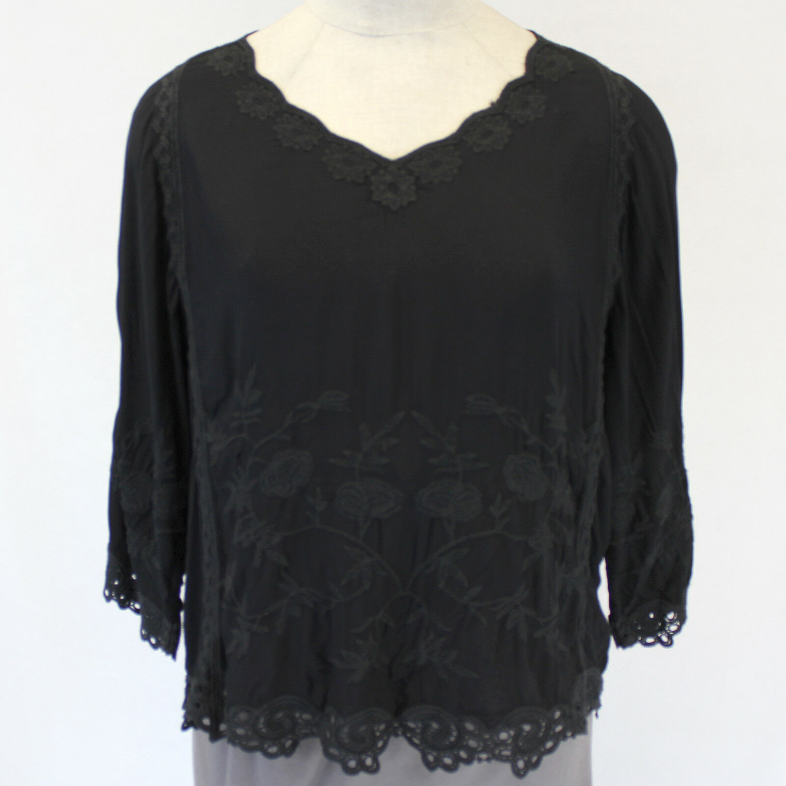 XCVI Plus Größe Embroiderot schwarz Lagenlook Tunic Blouse Top 2X