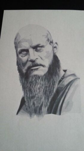 Multilayer step by step airbrush stencil Viking Ragnor