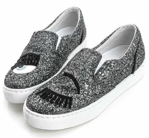 NIB CHIARA FERRAGNI Dark Grey Glitter Flirting Wink eye Leather Sneaker CF653