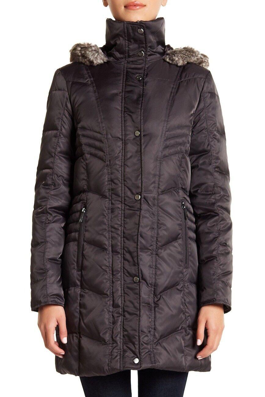 Kenneth Cole New York bajar abrigo con  ribete de piel sintética con capucha Forro & 3920 Talla M  a precios asequibles
