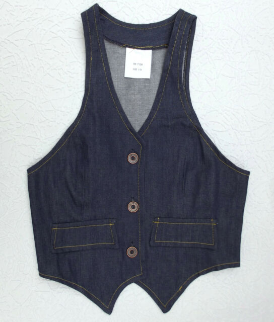Childrens blue cotton waistcoat UNUSED vintage 1960s TEENAGE clothes Age 13 15