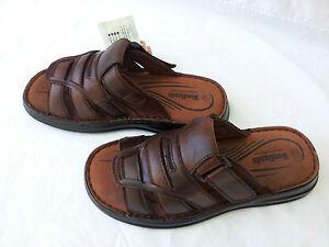 Full-Leather-Upper-Woodlands-Summer-Mens-Slip-On-Sandals-Thongs-Brown-Hoyt