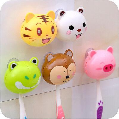 1pc Lovely Cute Cartoon Animal Kid Bathroom Toothbrush Suction Holder Storage