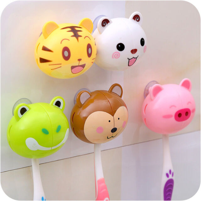 1pc Lovely Cute Cartoon Animal Kid Bathroom Toothbrush Suction Holder Storage