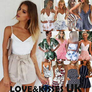 UK-Womens-Holiday-Mini-Playsuit-Ladies-Jumpsuit-Summer-Beach-Dress-Size-6-14