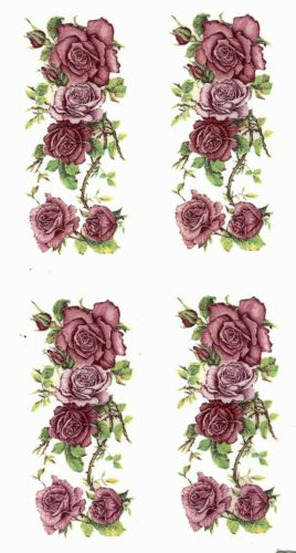 "Pink Rose Rectangle 6 pcs 1-7//8 X 3//4/"" Waterslide Ceramic Decals Bx"