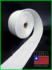 WHITE EXHAUST WRAP THERMAL HEADER PIPE INSULATION TAPE 2 INCH X 25 FOOT ROLL