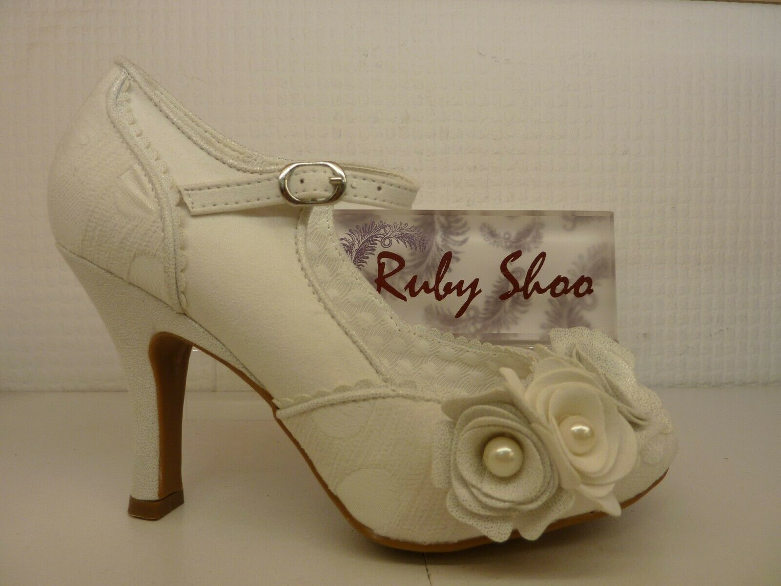 Ruby Shoo Antonia White Silver Ladies Wedding Buckled Strap Heel Court shoes