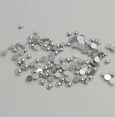100pcs Metallic Silver Half Pearl Bead 8mm Scrapbook Craft Flat Back beads.