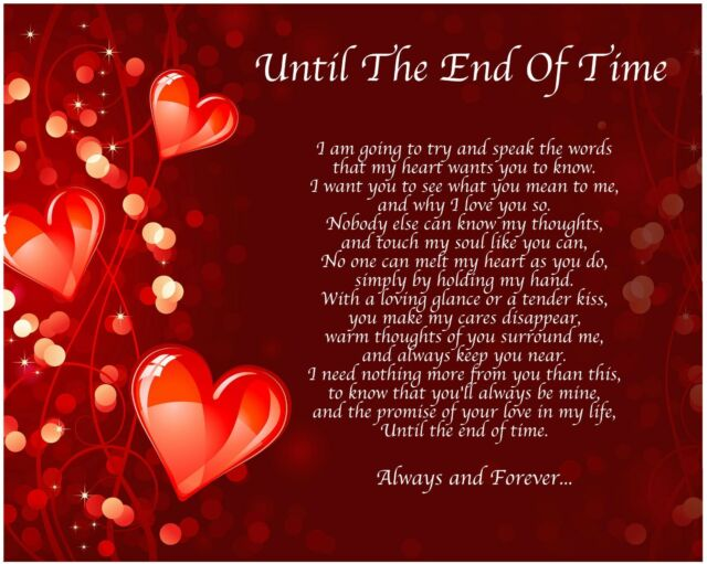 Personalised Until The End Of Time Poem Birthday Christmas