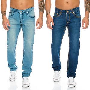 Designer Herren Jeans Hose dicke Nähte Clubwear Jeans Blau Vintage Style H 118