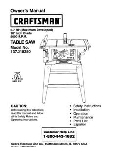 craftsman 137 218250 table saw owners instruction manual ebay rh ebay com Craftsman 10 Table Saw Manual Model 315228400 Craftsman Table Saw Manual 242420