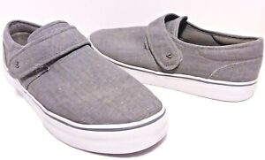 Lugz-Size-12-Mens-Deck-Shoes-Gray-Canvas-Hook-Loop-Closure-Casual-Loafers