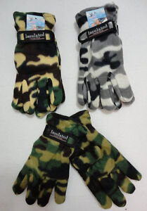12 Pairs Mens Thermal Insulated Fleece Gloves w Strap Camo Winter WHOLESALE LOT