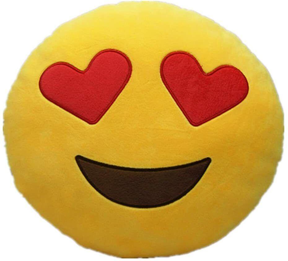 Yellow Round Cushion Soft Emoji Smiley Emoticon Stuffed Plush Toy Doll Pendant