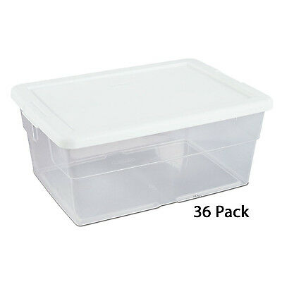 Sterilite 16 Quart Clear Stacking Storage Container Tub, 36 Pack | 16448012