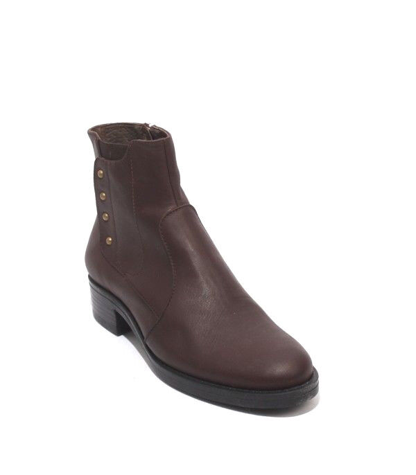 women Piu 10601a Brown Leather   Elastic   Zip-Up Ankle Heel Boots 38   US 8