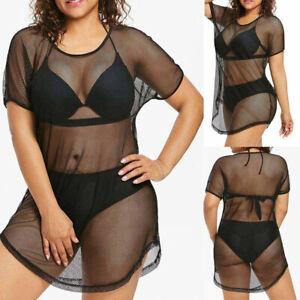 Fashion-Women-O-Neck-Bikini-Cover-Up-Swimwear-Bathing-Mesh-Beach-Dress