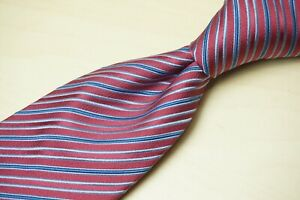 Charvet Place Vendome Light Scarlet Red Blue Striped 100% Silk Tie France