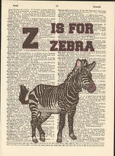 Z is for Zebra Alphabet Altered Art Print Upcycled Vintage Dictionary Page