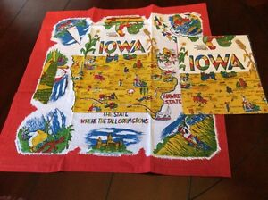 Retro Vintage Style Souvenir Cotton Flour Sack 50's Kitchen Towels - IOWA