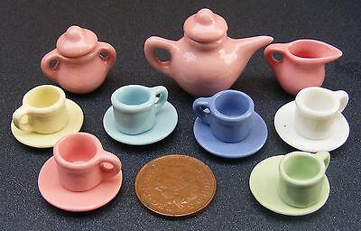 1:12 Ceramica Scala 15 Pezzo Multi Colore Tumdee Casa Delle Bambole Tè Set 2182-mostra Il Titolo Originale