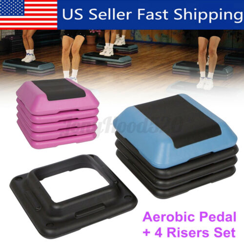 """Details about  /Adjustable 16/""""x16/"""" Height Stepper Square Workout Aerobic Platform with 4 Risers"""