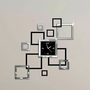 Wall-Clock-Mirror-Acrylic-3D-Stickers-Home-Decorations-Square-Designed-Watch-New