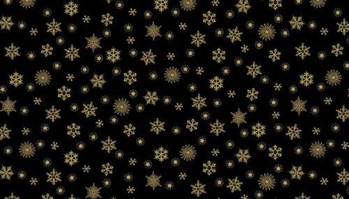 100/% Cotton FQ//Metre Patchwork Quilting Makower Metallic Snowflake Black