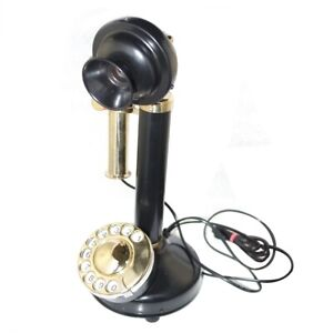 New-Black-amp-Brass-Candle-Stick-Type-Telephone-Old-Vintage-Antique-Style