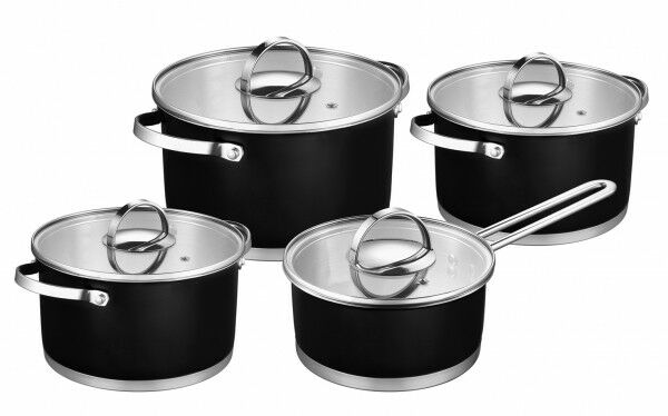 8tlg. ollas de acero inoxidable negro novigo utensilios ollas de