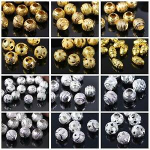Matte-Gold-Silver-6mm-10mm-Metal-Brass-Alloy-Loose-Spacer-Jewelry-Making-Beads