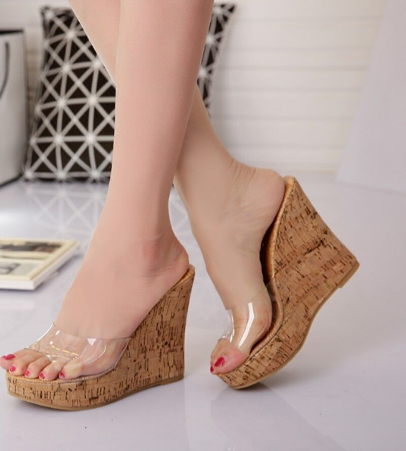 Summer Womens Clear Slippers shoes Platform Open Toe High Wedge Heel Sandals hot