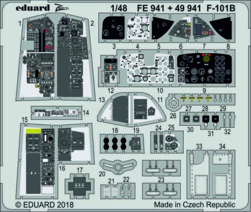 Eduard PE 49941 1//48 McDonnell F-101B Voodoo interior details Kitty Hawk